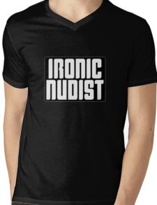 Ironic Nudist Mens V-Neck T-Shirt