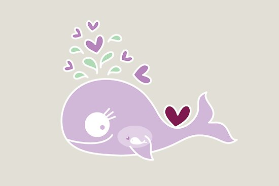 Whimsical Cute Magenta Purple Pregnant Mommy Whale by fatfatin