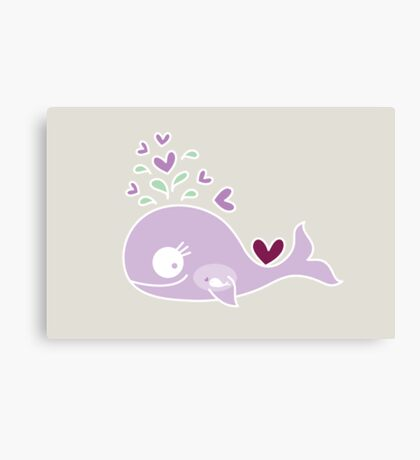 Whimsical Cute Magenta Purple Pregnant Mommy Whale Canvas Print
