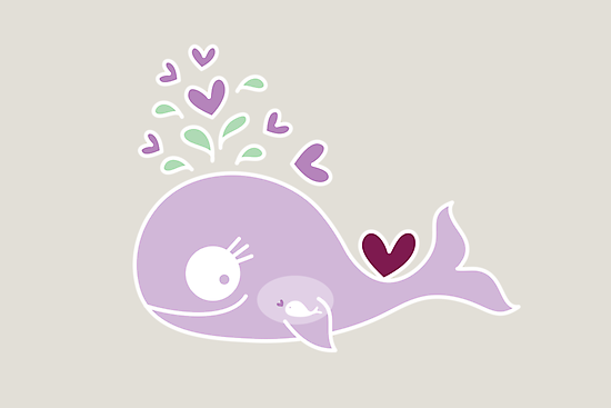 Whimsical Cute Magenta Purple Pregnant Whale by fatfatin