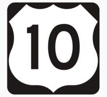 US Route 10 Sign, USA - Regular Version Kids Tee
