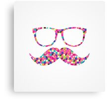Funny Girly Pink Abstract Mustache Hipster Glasses Canvas Print
