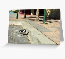 Vaguely A Brave Ordinary Mudlark Stands Up For Itself Against Unknown Strangers Greeting Card