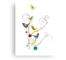 Colorful Whimsical Summer Birds & Swirls Metal Print