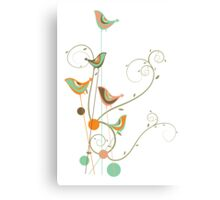 Colorful Whimsical Summer Birds and Swirls 2 Canvas Print