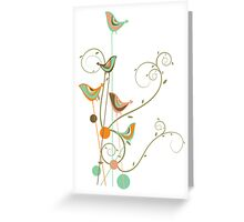 Colorful Whimsical Summer Birds & Swirls 2 Greeting Card