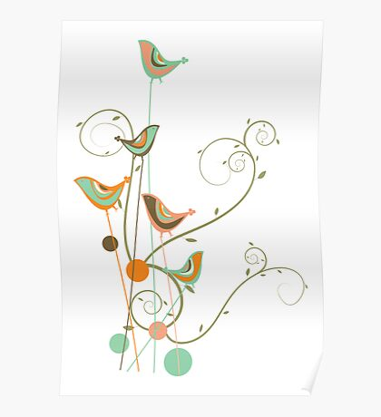Colorful Whimsical Summer Birds and Swirls 2 Poster
