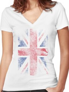 Union Jack - Flag Great Britain - Vintage Look Women's Fitted V-Neck T-Shirt