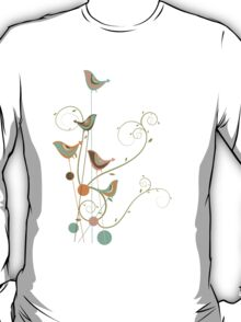 Colorful Whimsical Summer Birds & Swirls 2 T-Shirt