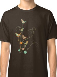 Colorful Whimsical Summer Birds and Swirls 2 Classic T-Shirt