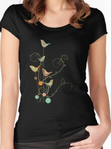 Colorful Whimsical Summer Birds and Swirls 2 Women's Fitted Scoop T-Shirt
