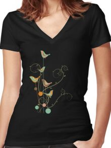 Colorful Whimsical Summer Birds and Swirls 2 Women's Fitted V-Neck T-Shirt