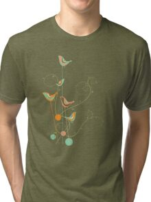 Colorful Whimsical Summer Birds and Swirls 2 Tri-blend T-Shirt