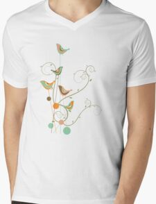 Colorful Whimsical Summer Birds and Swirls 2 Mens V-Neck T-Shirt