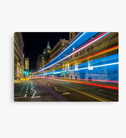 Water Street Bus Lights Canvas Print