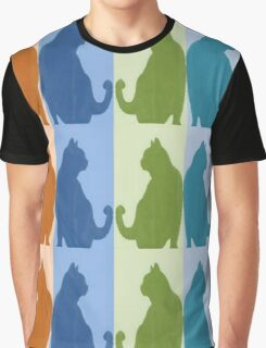 Reflected Images Of A Line Of Cats Graphic T-Shirt