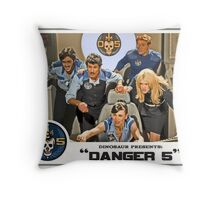 """Danger 5 Lobby Card #3 - """"In the balance"""" Throw Pillow"""