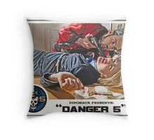 """Danger 5 Lobby Card #6 - """"You talk to much"""" Throw Pillow"""