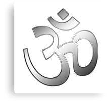 Om also Aum sign into silver metal  Canvas Print