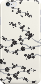Black Sakura Cherry Blossoms Flowers by fatfatin