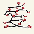 Red Sakura Cherry Blossoms Chinese Ai / Love by fatfatin
