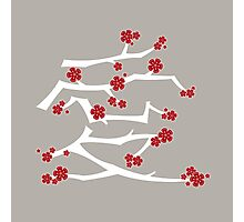 Red Sakura Cherry Blossoms Chinese Ai / Love (White) Photographic Print