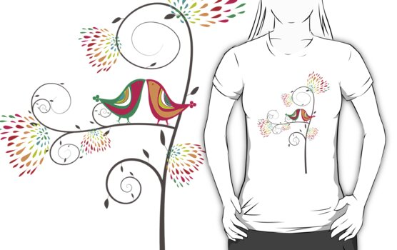Whimsical Summer Colorful Kissing Birds by fatfatin