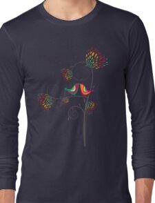 Whimsical Summer Colorful Kissing Birds Long Sleeve T-Shirt