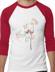 Whimsical Summer Colorful Kissing Birds Men's Baseball ¾ T-Shirt