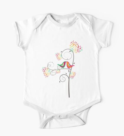 Whimsical Summer Colorful Kissing Birds Kids Clothes