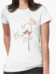 Whimsical Summer Colorful Kissing Birds Womens Fitted T-Shirt