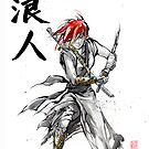 Girl Ronin drawing Sword Sumie and calligraphy by Mycks