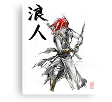 Girl Ronin drawing Sword Sumie and calligraphy Canvas Print