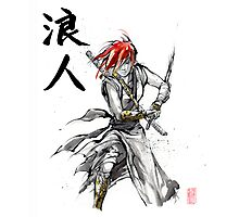 Girl Ronin drawing Sword Sumie and calligraphy Photographic Print