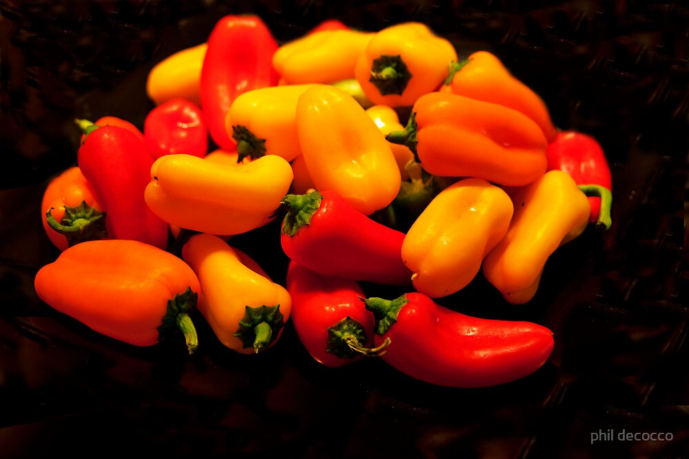 Yellow, Red, Orange Peppers by phil decocco