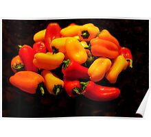 Yellow, Red, Orange Peppers Poster