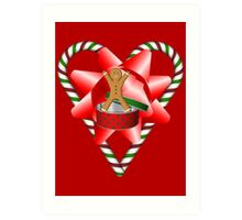 Candy Cane Heart Gingerbread Man Holiday  Art Print