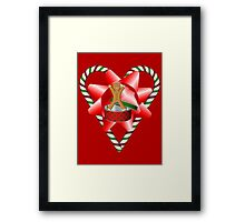 Candy Cane Heart Gingerbread Man Holiday  Framed Print