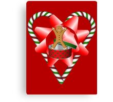Candy Cane Heart Gingerbread Man Holiday  Canvas Print