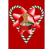 Candy Cane Heart Gingerbread Man Holiday  Photographic Print