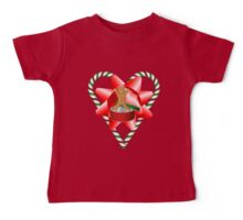 Candy Cane Heart Gingerbread Man Holiday  Baby Tee
