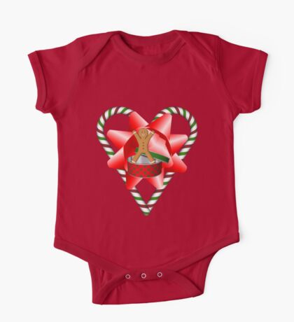 Candy Cane Heart Gingerbread Man Holiday  One Piece - Short Sleeve