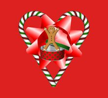 Candy Cane Heart Gingerbread Man Holiday  Womens Fitted T-Shirt