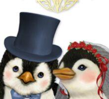 Penguin Wedding Heart Sticker