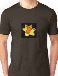 Spring Daffodil Isolated On Black Unisex T-Shirt