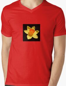 Spring Daffodil Isolated On Black Mens V-Neck T-Shirt