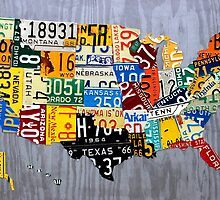 USA License Plate Map of the United States - Muscle Car Era - On Silver by designturnpike