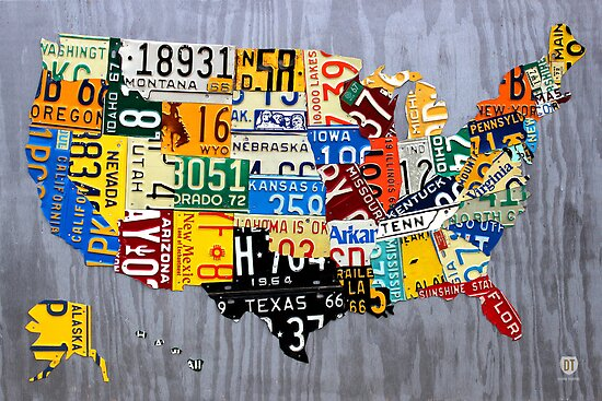 usa license plate map   united states muscle car era  silver posters