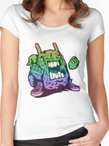 Rainbow Monster Illustration. Women's Fitted Scoop T-Shirt