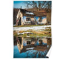 Old house with reflection in water photo Poster